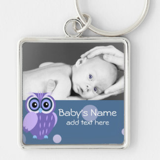 Baby Owl/Photo Silver-Colored Square Keychain