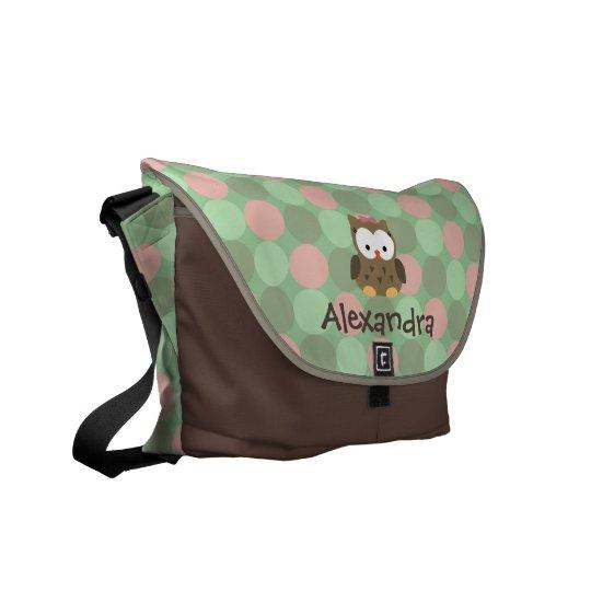 Baby Owl Pink and Green Custom Name Diaper Tote Messenger Bag