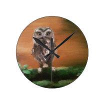 Baby Owl Round Clock