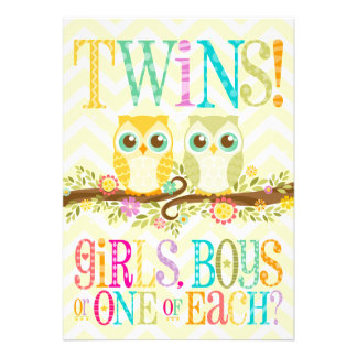 Baby Owl Twins - Gender Reveal Unknown Personalized Invite