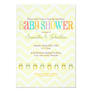 Baby Owl Twins - Gender Reveal / Unknown 5x7 Paper Invitation Card