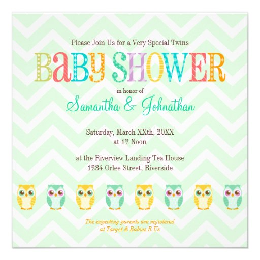 Personalized gender unknown baby shower invitations baby owl twins gender reveal unknown shower announcements filmwisefo