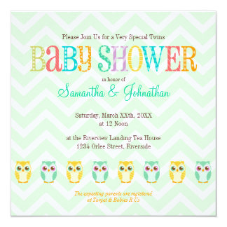 Baby Owl Twins - Gender Reveal / Unknown Shower 5.25x5.25 Square Paper Invitation Card