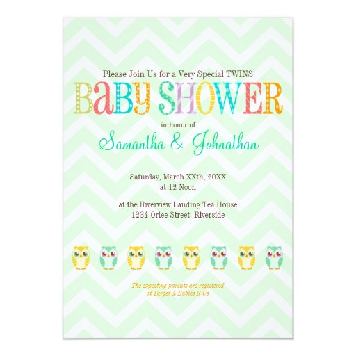 Baby Owl Twins - Gender Unknown Baby Shower Personalized ...