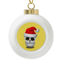Baby Owl Wearing a Santa Hat Ceramic Ball Christmas Ornament