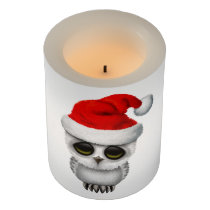 Baby Owl Wearing a Santa Hat Flameless Candle