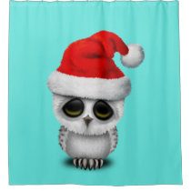 Baby Owl Wearing a Santa Hat Shower Curtain
