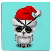 Baby Owl Wearing a Santa Hat Square Wall Clock