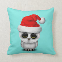 Baby Owl Wearing a Santa Hat Throw Pillow