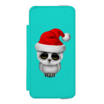 Baby Owl Wearing a Santa Hat Wallet Case For iPhone SE/5/5s
