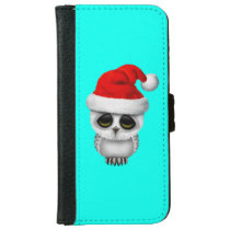Baby Owl Wearing a Santa Hat Wallet Phone Case For iPhone 6/6s
