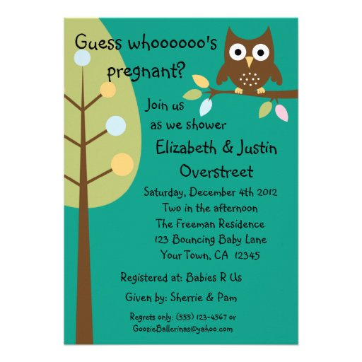 Baby Owl Whoooos Pregnant Green Shower Party Custo Invitation