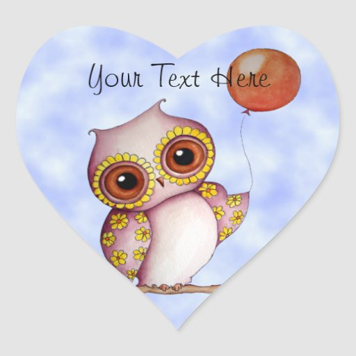 Baby Owl with Balloon Customizable Stickers