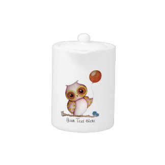 Baby Owl with Balloon Customizable Teapot