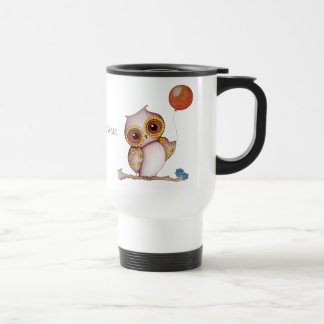 Baby Owl with Balloon Customizable Travel Mug