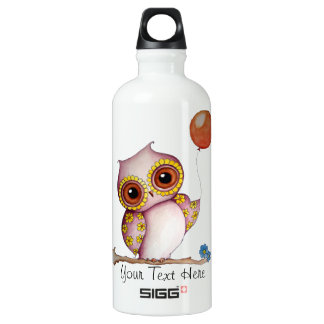 Baby Owl with Balloon Customizable Water Bottle