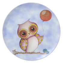 Baby Owl with Balloon Plate