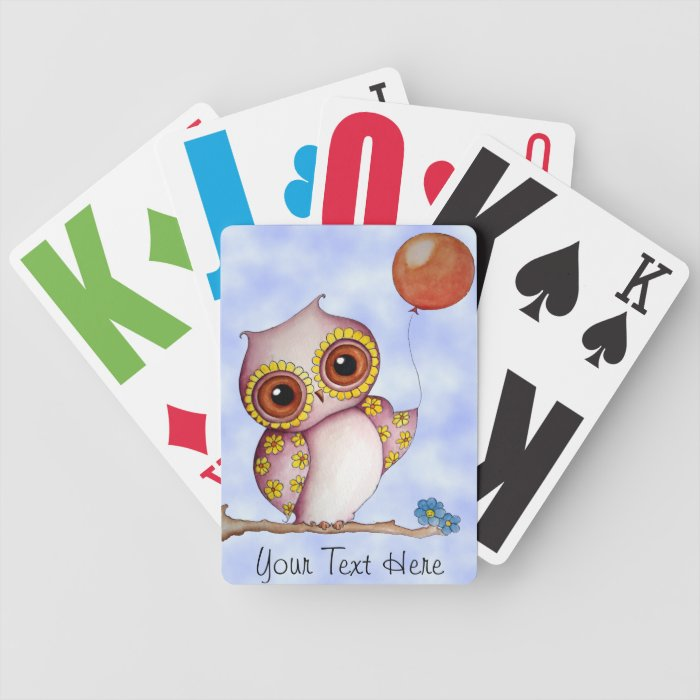 Baby Owl with Balloon Playing Cards