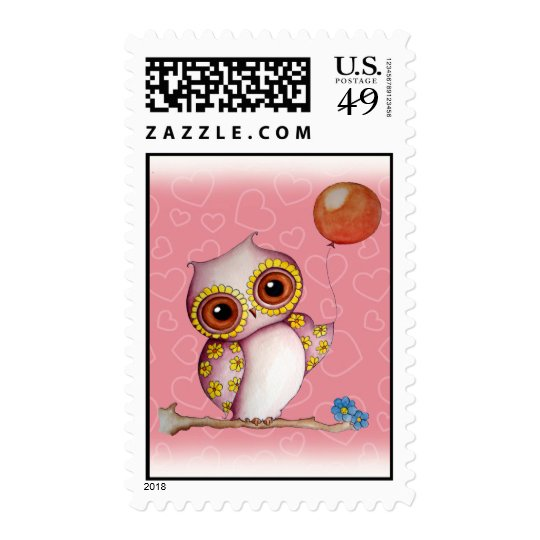 Baby Owl with Balloon Postage Stamp