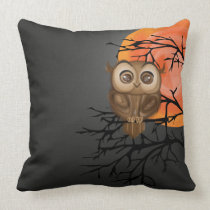 Baby owl with big eyes on moon night background throw pillow