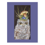 baby owl with blueberries and mushroom hat post card