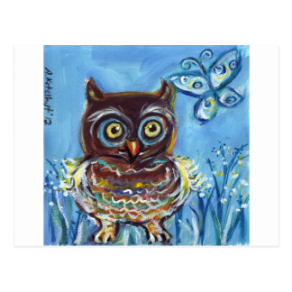 baby owl with butterfly painting postcard