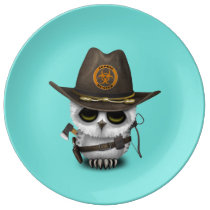 Baby Owl Zombie Hunter Porcelain Plate