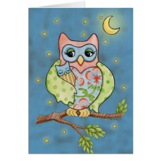 Baby Owlet and Mama Owl card