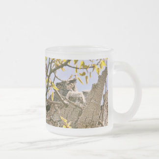 Baby Owls and Mother Owl in a Nest Frosted Glass Coffee Mug