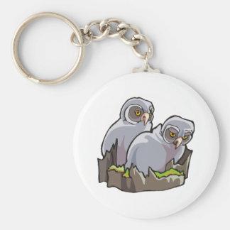 Baby Owls Basic Round Button Keychain