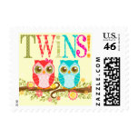 Baby Owls - Boy and Girl Twins Postage Stamps