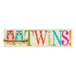 Baby Owls - Boy and Girl Twins Shower Banner Poster
