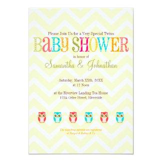 "Baby Owls - Boy Girl Twins Baby Shower Invitation 5"" X 7"" Invitation Card"