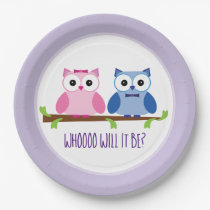 Baby Owls Gender Reveal Baby Shower Paper Plate