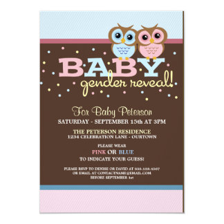 Baby Owls Gender Reveal Party Invitation Personalized Invitation
