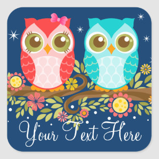 Baby Owls Girl and Boy - Night Sky Custom Stickers