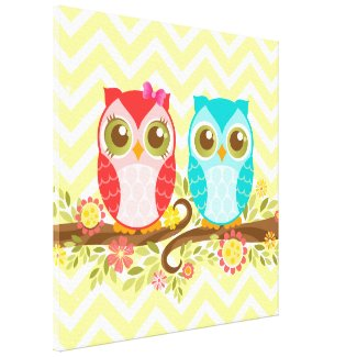 Baby Owls Girl and Boy - Stretched Canvas Wall Art Canvas Print