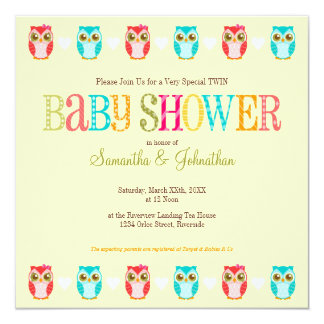 """Baby Owls - Girl and Boy Twins Shower Invitation 5.25"""" Square Invitation Card"""