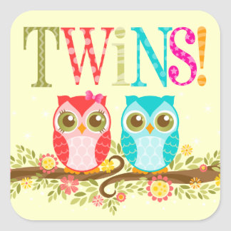 Baby Owls - Girl and Boy Twins Stickers