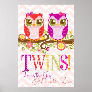 Baby Owls - Girl Twins - Custom Wall Poster