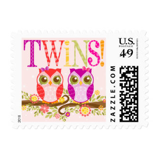 Baby Owls - Girl Twins Postage Stamps