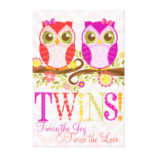 Baby Owls - Girl Twins - Stretched Canvas Canvas Print
