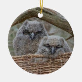 Baby Owls in a Wicker Basket Nest Ceramic Ornament
