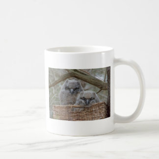 Baby Owls in a Wicker Basket Nest Coffee Mug