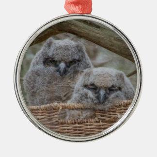 Baby Owls in a Wicker Basket Nest Metal Ornament