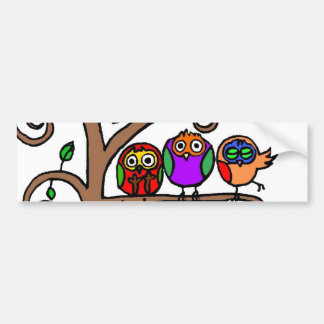 Baby Owls Learning to Fly Bumper Sticker