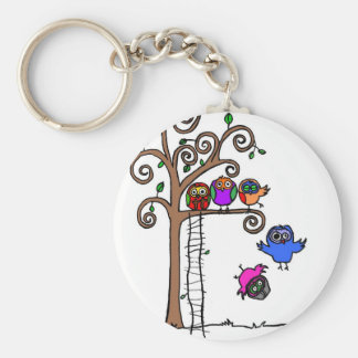 Baby Owls Learning to Fly Keychain