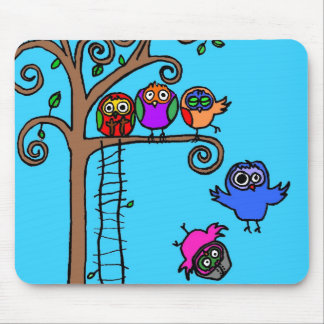 Baby Owls Learning to Fly Mouse Pad