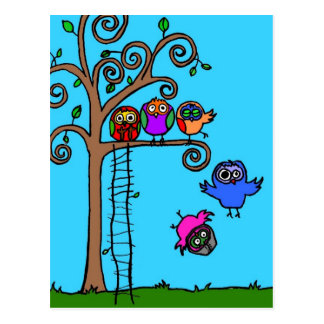 Baby Owls Learning to Fly Postcard
