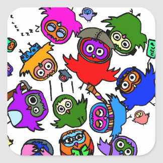 Baby Owls Learning to Fly Square Sticker